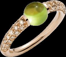 Ring Pomellato M'ama non M'ama aus 750 Roségold mit 1 Peridot und mehreren Brillanten (0,36 Karat)