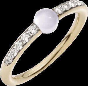 Ring Pomellato M'ama non M'ama aus 750 Roségold mit 1 Adular und 10 Brillanten (0,19 Karat)