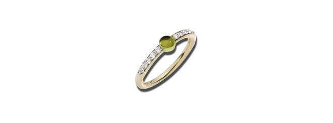 Ring Pomellato M'ama non M'ama aus 750 Roségold mit 1 Peridot und 10 Brillanten (0,19 Karat) bei Brogle