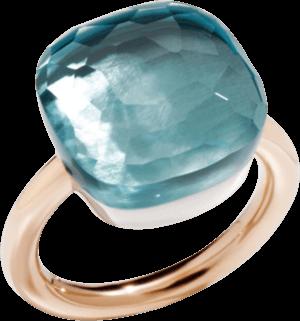 Ring Pomellato Nudo Assoluto Blautopas aus 750 Roségold und 750 Weißgold mit 1 Blautopas