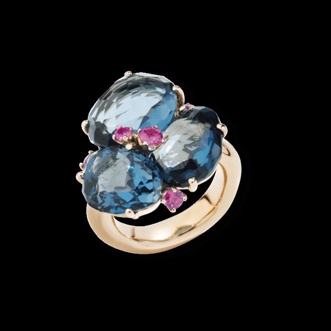Ring Pomellato Bahia aus 750 Roségold mit 3 Topasen und 3 Amethysten