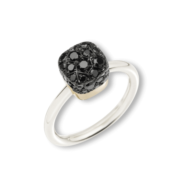 Ring Pomellato Nudo Black Diamonds aus 750 Weißgold und 750 Roségold mit mehreren Brillanten (0,84 Karat)