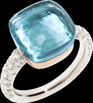 Ring Pomellato Nudo Blautopas mit Brillanten aus 750 Weißgold und 750 Roségold mit 1 Blautopas und mehreren Brillanten (0,73 Karat)