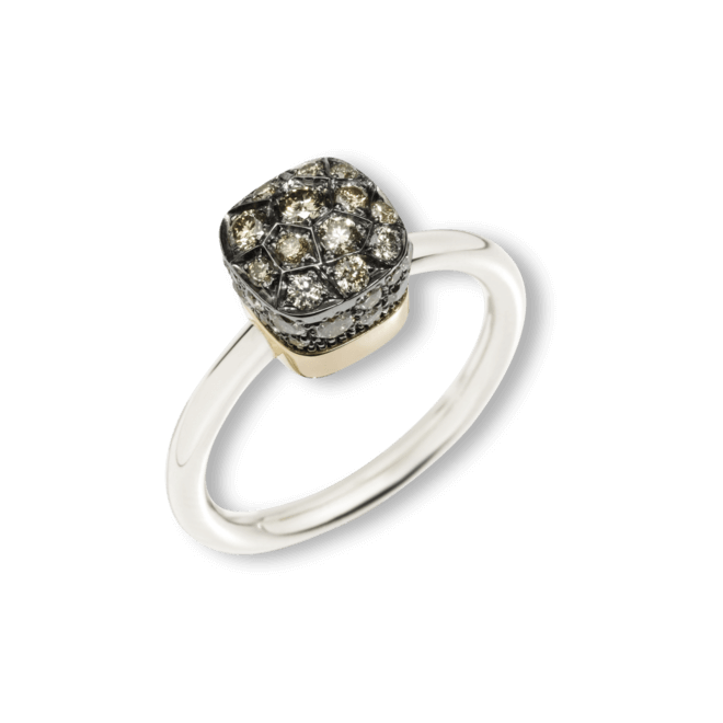 Ring Pomellato Nudo Brown Diamonds aus 750 Weißgold und 750 Roségold mit mehreren Brillanten (0,84 Karat)