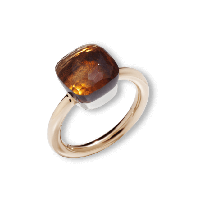 Ring Pomellato Nudo Classic Citrin aus 750 Roségold und 750 Weißgold mit 1 Citrin