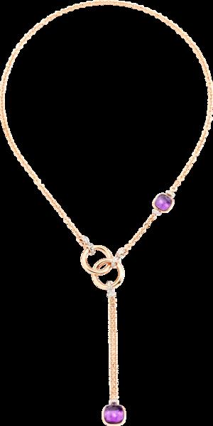 Halskette Pomellato Nudo Classic aus 750 Roségold und 750 Weißgold mit 83 Brillanten (0,83 Karat) und 2 Amethysten