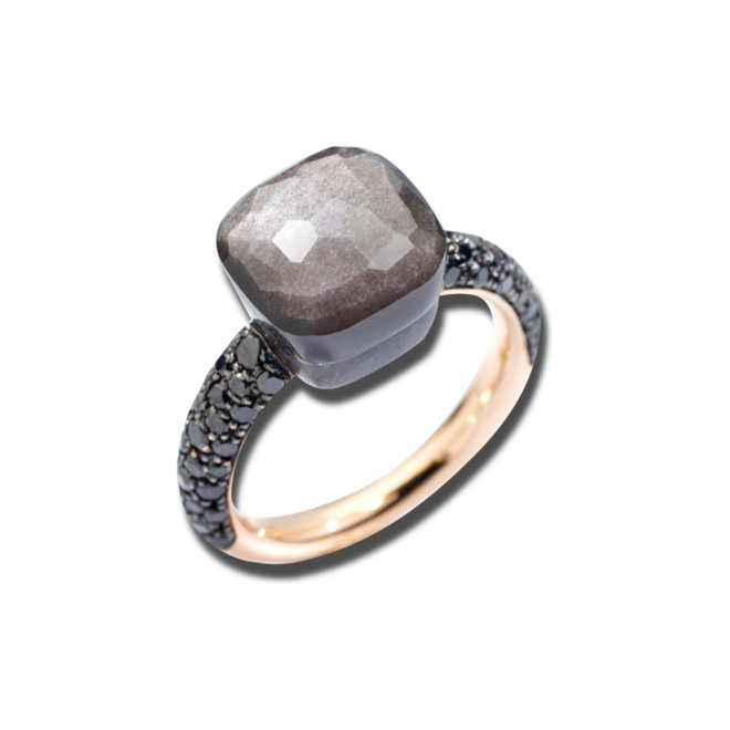 Ring Pomellato Nudo Classic Obsidian aus 750 Roségold und Titan mit 1 Obsidian und 58 Diamanten (0,72 Karat)