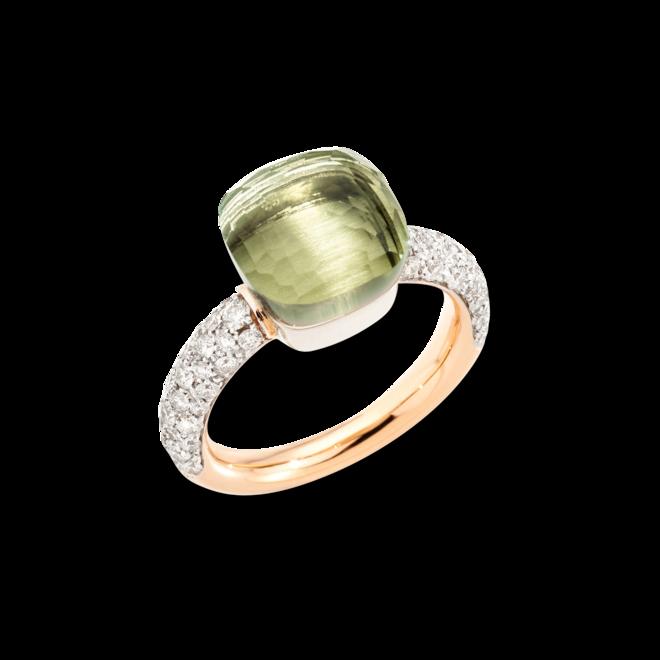 Ring Pomellato Nudo Classic aus 750 Roségold und 750 Weißgold mit 58 Brillanten (0,73 Karat) und 1 Prasiolith