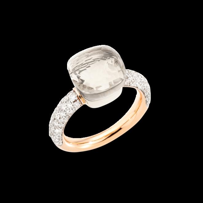 Ring Pomellato Nudo Classic aus 750 Roségold und 750 Weißgold mit 58 Brillanten (0,73 Karat) und 1 Topas
