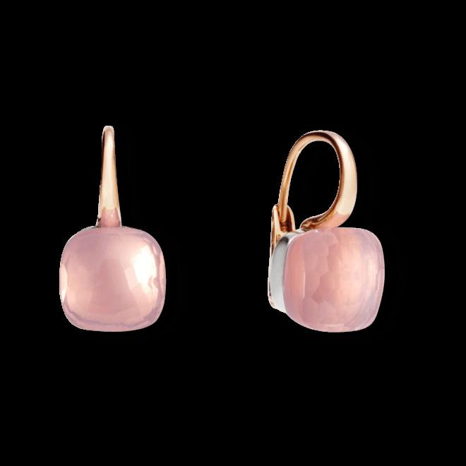 Ohrring Pomellato Nudo Classic Rosenquarz aus 750 Roségold und 750 Weißgold mit 2 Rosenquarzen
