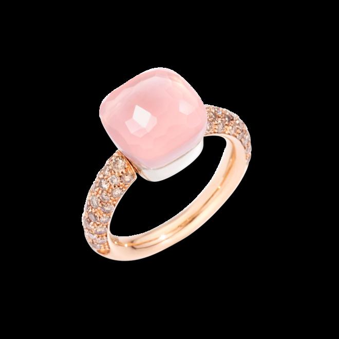 Ring Pomellato Nudo Classic Rosenquarz aus 750 Roségold und Weißgold mit 58 Diamanten (0,7 Karat) und mehreren Edelsteinen