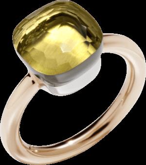 Ring Pomellato Nudo Classic Zitronenquarz aus 750 Roségold und 750 Weißgold mit 1 Zitronenquarz
