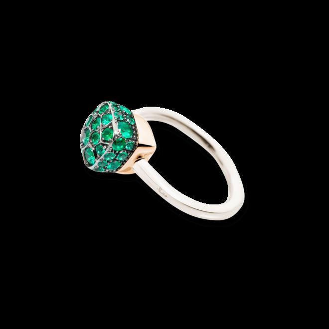 Ring Pomellato Nudo Emeralds aus 750 Weißgold und 750 Roségold mit mehreren Smaragden