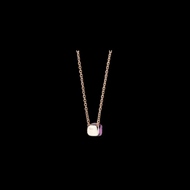 Halskette mit Anhänger Pomellato Nudo aus 750 Roségold und 750 Weißgold mit 1 Amethyst