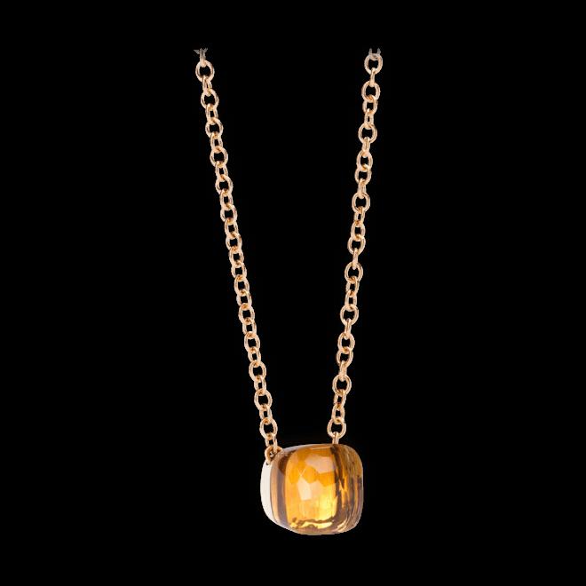 Halskette mit Anhänger Pomellato Nudo aus 750 Roségold und 750 Weißgold mit 1 Citrin