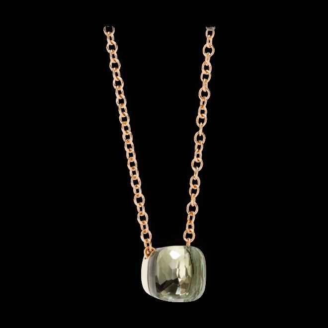 Halskette mit Anhänger Pomellato Nudo aus 750 Roségold und 750 Weißgold mit 1 Prasiolith