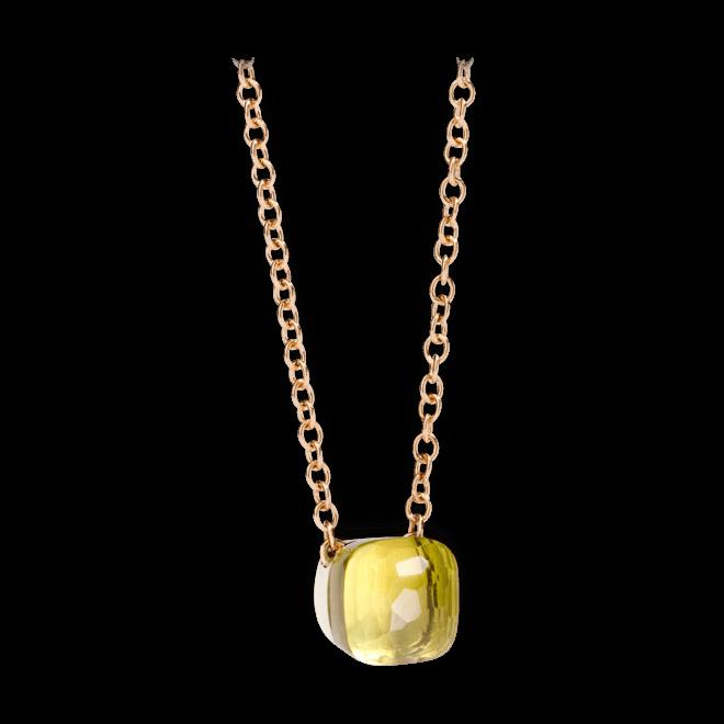 Halskette mit Anhänger Pomellato Nudo aus 750 Roségold und 750 Weißgold mit 1 Zitronenquarz