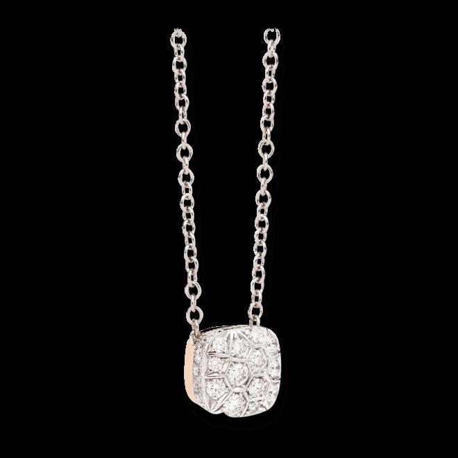 Halskette mit Anhänger Pomellato Nudo aus 750 Weißgold und 750 Roségold mit mehreren Brillanten (1,48 Karat)