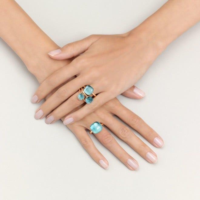 Ring Pomellato Nudo Maxi Blautopas aus 750 Roségold und 750 Weißgold mit 1 Blautopas bei Brogle