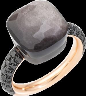 Ring Pomellato Nudo Maxi Obsidian aus 750 Roségold und Titan mit 1 Obsidian und 58 Diamanten (0,72 Karat)