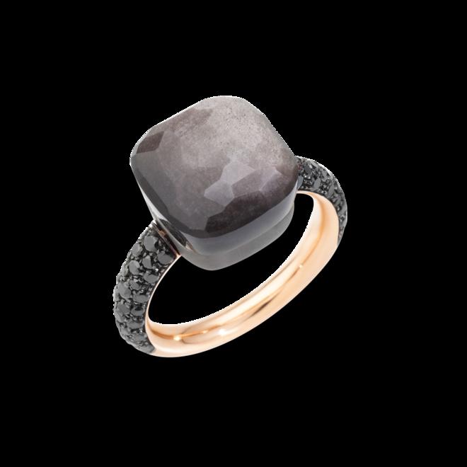 Ring Pomellato Nudo Maxi Obsidian aus 750 Roségold und Titan mit 1 Obsidian und 58 Diamanten (0,72 Karat) bei Brogle