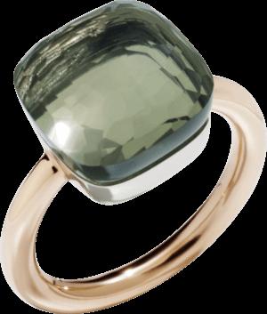 Ring Pomellato Nudo Maxi Prasiolith aus 750 Roségold und 750 Weißgold mit 1 Prasiolith