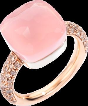 Ring Pomellato Nudo Maxi Rosenquarz aus 750 Roségold und Weißgold mit 58 Diamanten (0,7 Karat) und mehreren Edelsteinen