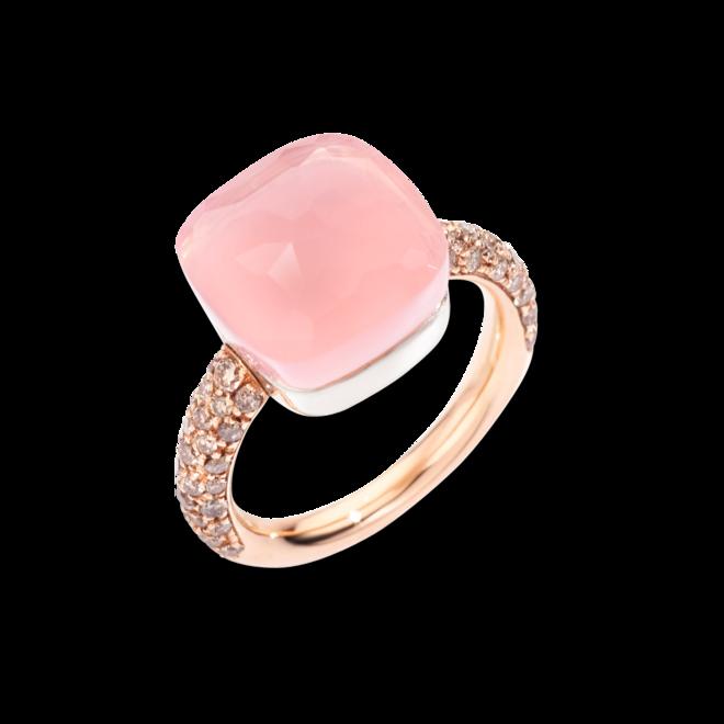 Ring Pomellato Nudo Maxi Rosenquarz aus 750 Roségold und Weißgold mit 58 Diamanten (0,7 Karat) und mehreren Edelsteinen bei Brogle