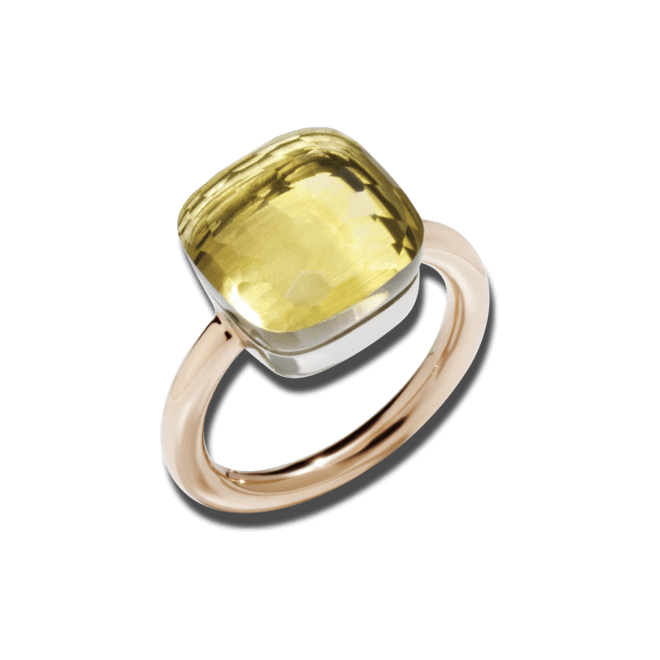 Ring Pomellato Nudo Maxi Zitronenquarz aus 750 Roségold und 750 Weißgold mit 1 Zitronenquarz