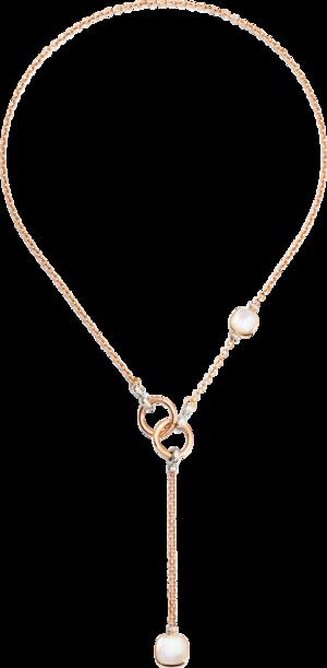 Halskette mit Anhänger Pomellato Nudo mit Diamanten aus 750 Roségold und 750 Weißgold mit 24 Diamanten (0,1 Karat) und mehreren Edelsteinen
