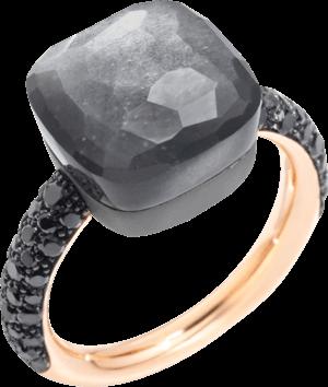 Ring Pomellato Nudo Mondstein mit Brillanten aus 750 Roségold und Titan mit 1 Mondstein und 58 Brillanten (0,77 Karat)