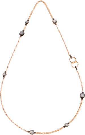 Halskette Pomellato Nudo Obsidian aus 750 Roségold und 750 Weißgold mit 7 Obsidianen und 182 Diamanten (2 Karat)