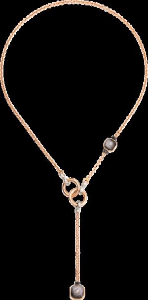 Halskette mit Anhänger Pomellato Nudo Obsidian aus 750 Roségold und 750 Weißgold mit 2 Obsidianen und 24 Diamanten (0,1 Karat)