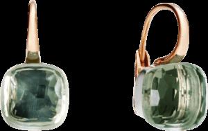 Ohrring Pomellato Nudo aus 750 Roségold und 750 Weißgold mit 2 Prasiolithen