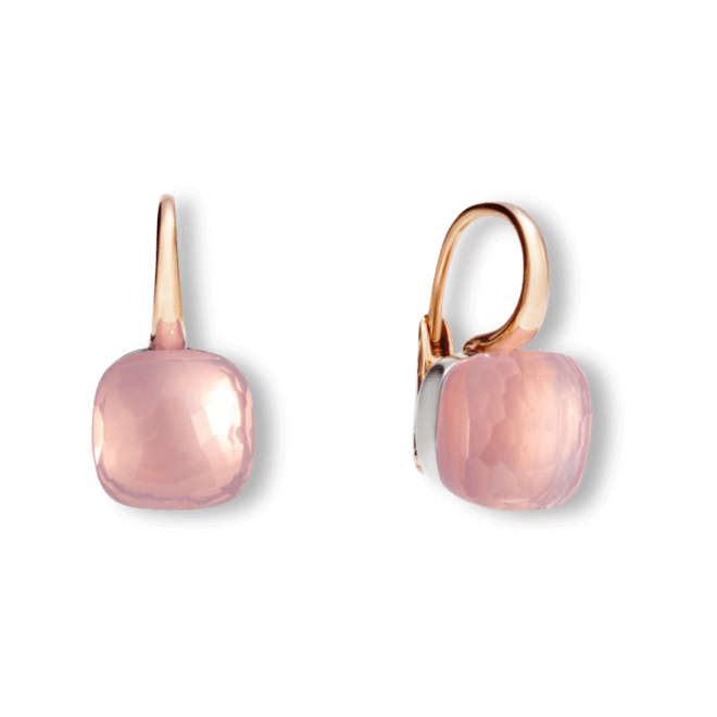 Ohrring Pomellato Nudo aus 750 Roségold und 750 Weißgold mit 2 Rosenquarzen