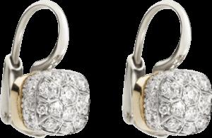 Ohrring Pomellato Nudo aus 750 Weißgold und 750 Roségold mit mehreren Brillanten (2 x 0,42 Karat)