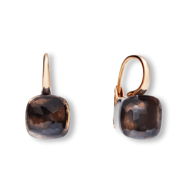 Ohrring Pomellato Nudo aus 750 Roségold und 750 Weißgold mit 2 Rauchquarzen bei Brogle
