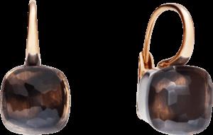 Ohrring Pomellato Nudo aus 750 Roségold und 750 Weißgold mit 2 Rauchquarzen
