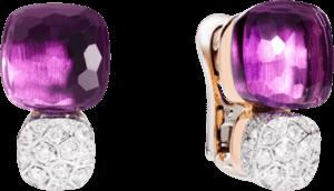 Ohrring Pomellato Nudo aus 750 Roségold und 750 Weißgold mit 2 Amethysten und mehreren Diamanten (2 x 0,85 Karat)