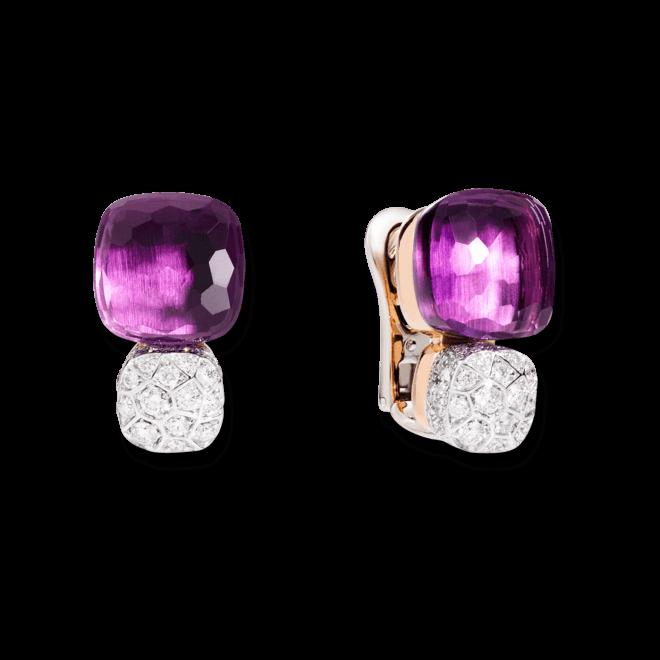 Ohrring Pomellato Nudo aus 750 Roségold und 750 Weißgold mit 2 Amethysten und mehreren Diamanten (2 x 0,85 Karat) bei Brogle