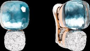 Ohrring Pomellato Nudo aus 750 Roségold und 750 Weißgold mit 2 Blautopasen und mehreren Diamanten (2 x 0,85 Karat)