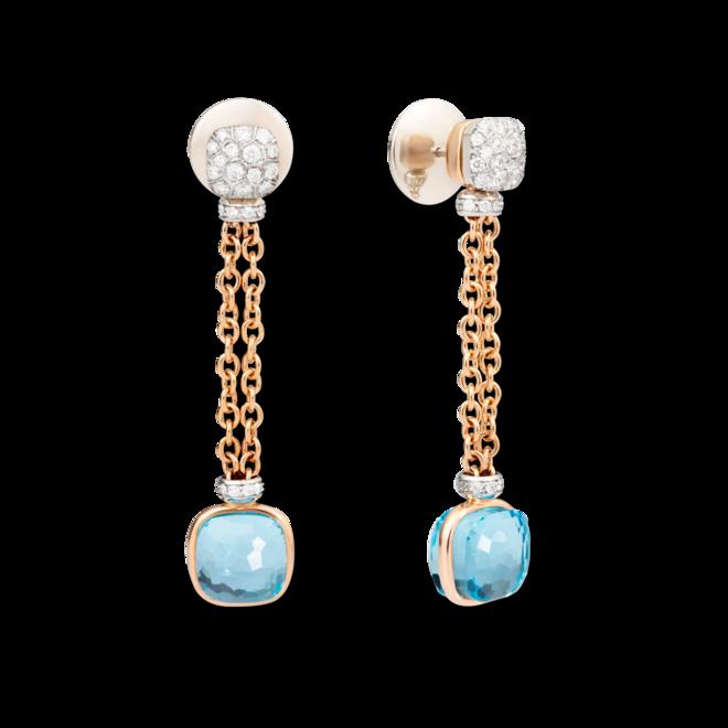 Ohrring Pomellato Nudo aus 750 Roségold und 750 Weißgold mit 2 Sky-Topasen und 70 Diamanten (2 x 0,45 Karat) bei Brogle