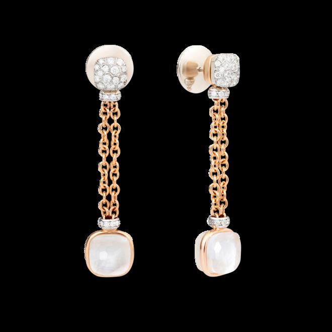 Ohrring Pomellato Nudo aus 750 Roségold und 750 Weißgold mit 70 Diamanten (2 x 0,45 Karat) und mehreren Edelsteinen bei Brogle
