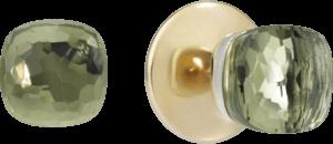 Ohrstecker Pomellato Nudo aus 750 Roségold und 750 Weißgold mit 2 Prasiolithen