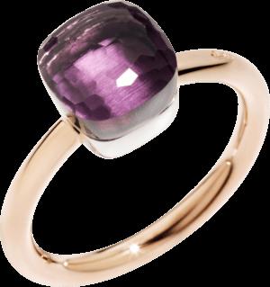 Ring Pomellato Nudo Petit Amethyst aus 750 Roségold und 750 Weißgold mit 1 Amethyst
