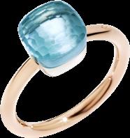 Ring Pomellato Nudo Petit Blautopas aus 750 Roségold und 750 Weißgold mit 1 Blautopas
