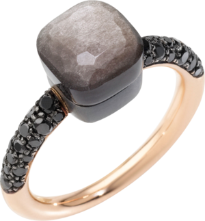 Ring Pomellato Nudo Petit Obsidian aus 750 Roségold und Titan mit 1 Obsidian und 36 Diamanten (0,46 Karat)