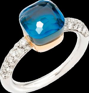 Ring Pomellato Nudo Petit aus 750 Roségold und 750 Weißgold mit 36 Brillanten (0,5 Karat) und mehreren Edelsteinen