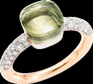 Ring Pomellato Nudo Petit aus 750 Roségold und 750 Weißgold mit 36 Brillanten (0,5 Karat) und 1 Prasiolith
