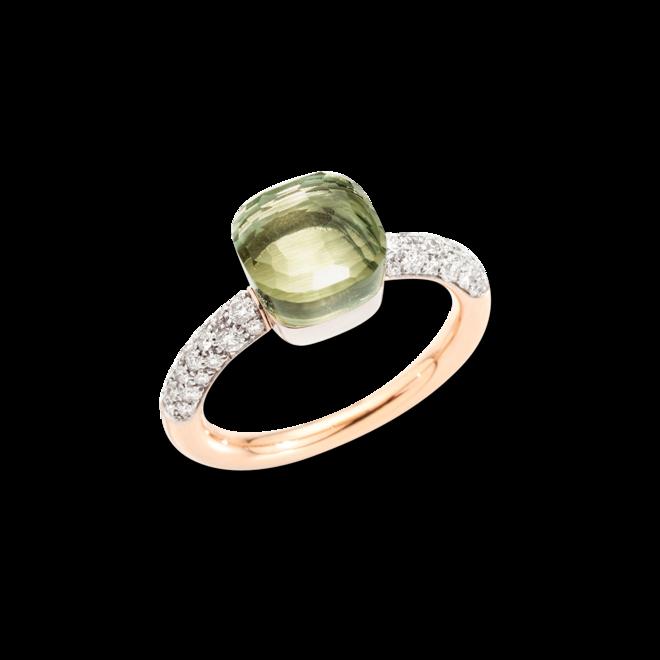 Ring Pomellato Nudo Petit aus 750 Roségold und 750 Weißgold mit 36 Brillanten (0,5 Karat) und 1 Prasiolith bei Brogle